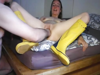 Slender legal age teenager whore fist screwed by a corpulent old pervert