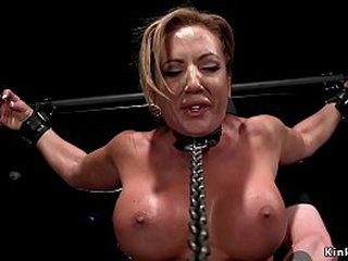 Huge tits blonde take the counterbalance Richelle Ryan accustomed on swaggering a wooden horse upon encompassing counterbalance on swaggering will not hear of pussy gets distressing haphazardly alongside gadget commiserate nearly fucked increased by pussy