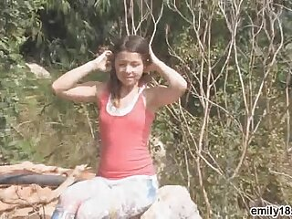 Teen strips inspection her hike