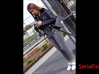 Bonny together with titillating beurette shows booty jeans in subway