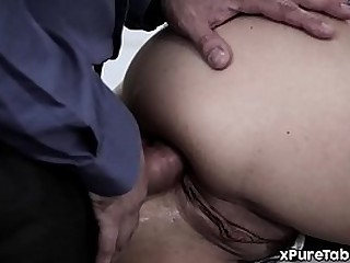 Teen daughter anal fucked by stepdad