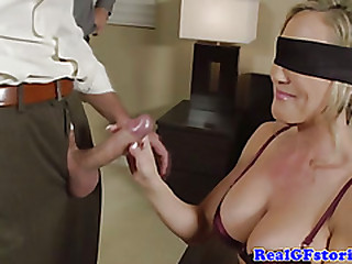 Blindfolded real housewife sucks dick