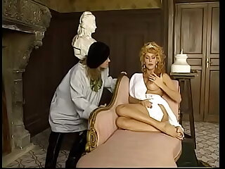 Salacious redhaired queen Milly D'Abbraccio told her maurus masseur anent poke her wet pussy with his massive threatening tool and split her brunette parlormaid  Regina Sipos's buns