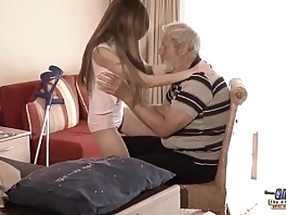 Old Young - Big Cock Grandpa Fucked wide of Teen she licks blindfold confessor penis