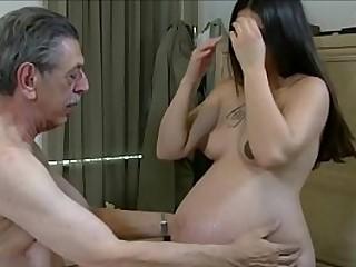 Pregnant slut fucks with an old guy